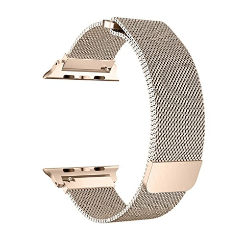 OROBAY Compatible for Apple Watch Band 38mm, Stainless Steel Milanese Loop Magnetic Closure Replacement iWatch Band Compatible for Apple Watch Series 3 Series 2 Series 1, (for Series 2/1) Gold by OROBAY