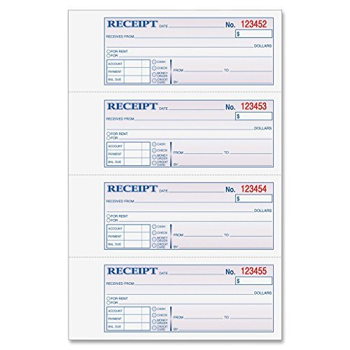 (Adams Money and Rent Receipt Book, 3-Part, Carbonless, White/Canary/Pink,7 5/8