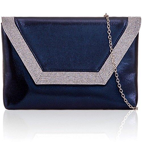 PU London Bridal Metallic Clutch Flat Bags Prom Navy Envelope Leather Xardi Women Diamante Evening XUnqdq