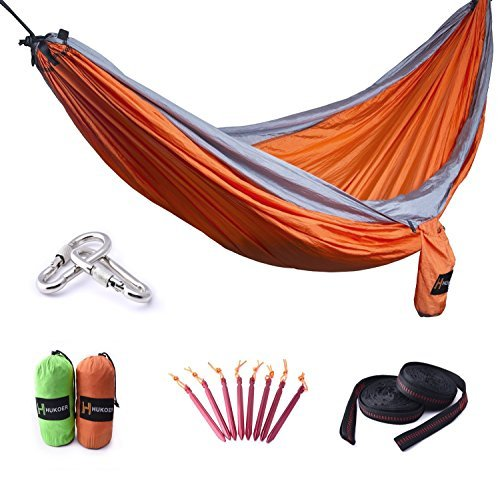 HUKOER Double Nest Parachute Camping Hammock Ultralight Portable 2 Persons 550lbs Nylon Hammock with Straps and Stakes Peg for Indoor Sleeping, Outdoor, Backyard, Hiking and Travel (Updated Version)
