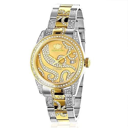 Ladies Diamond Watch 18k White Yellow Gold Pltd Two-Tone LUXURMAN Tribeca - 18k Yellow Gold Diamond Watch