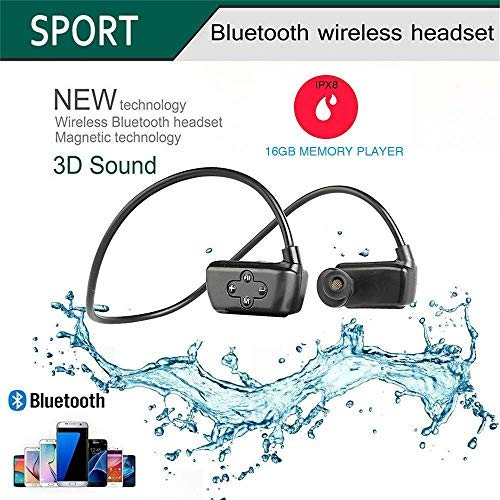 Black huadun IPX8 Under Water Music Player for Swimming and Waterproof Headphones with Ear Hooks 8GB MP3 with Sports Clip for Surfing,Diving