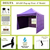 DELTA Canopies -10'x10′ Pop up Outdoor Instant Folding Wedding Canopy Party Tent Gazebo EZ Purple – F Model Commercial Frame For Sale