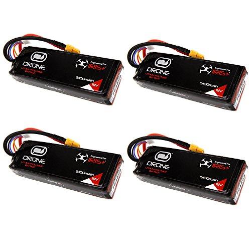 3DR Iris+ 3S 5100mAh 11.1V RC LiPo Drone Battery w/ XT60 Plug x4 packs by Venom