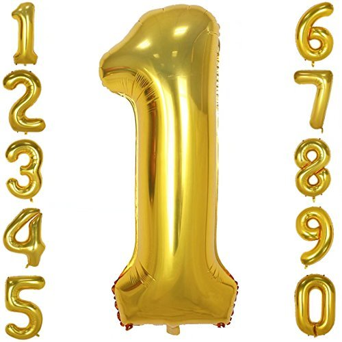 40 Inch Big Number Balloons Gold Mylar Foil Large Number 1 Giant Helium Balloon Birthday Party - Number Balloon Mylar One