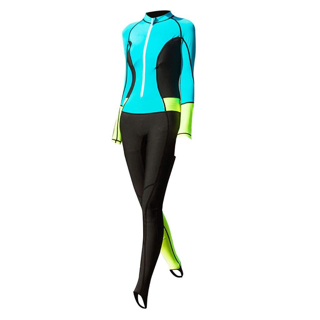 FEDULK Womens One Piece Long Sleeve Diving Suit Swimwear Wetsuit for Swimming/Scuba Diving/Snorkeling/Surfing(Sky Blue, X-Large)
