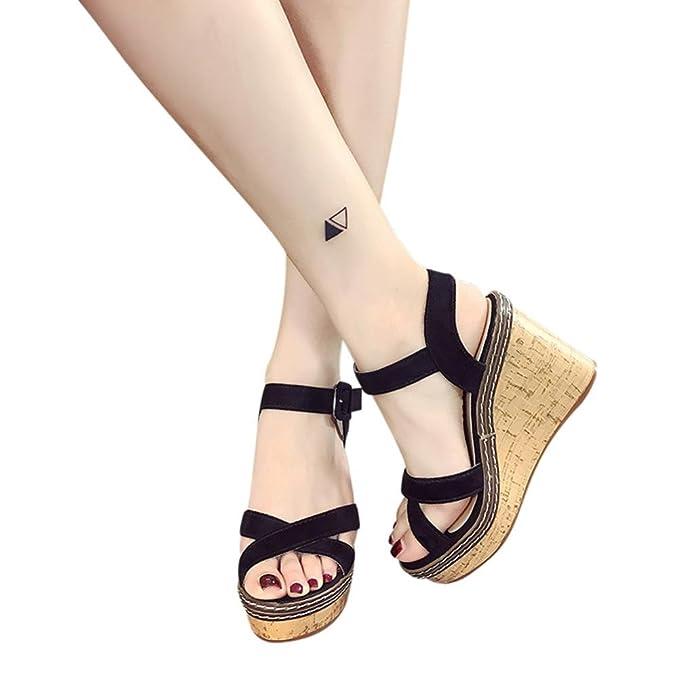 62d1bef2e126 QingFan Women s Platform Wedge Sandal Classic High Heel Ankle Strap Shoes ( Black