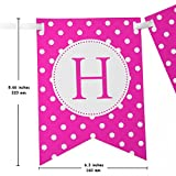Happy Birthday Banner For A Girl With Set of 6 Large 8 inches Tissue Paper Pom Pom Balls - Pink Polka Dot Birthday Banner - New Designed Birthday Bunting Decorations Kit and Party Supplies For Kids
