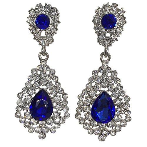 Pageant Gown Earrings (Dazzling Rhinestone Teardrop Formal Prom Pageant Clip on Dangle Earrings)