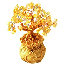 Itian Yellow Crystal Citrine Money Tree in a Money Bag for Wealth Luck