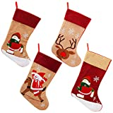 handrong 4pcs Burlap Christmas Stockings 17 Inch Cute Snowman Reindeer Penguin Design for Home Fireplace Trees Hanging Holiday Party Decorations Kids Gifts DIY Use