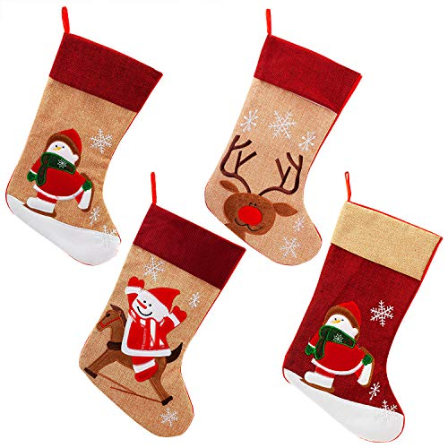 handrong 4pcs Burlap Christmas Stockings 17 Inch Cute Snowman Reindeer Penguin Design for Home Fireplace Trees Hanging Holiday Party Decorations Kids Gifts DIY Use by handrong