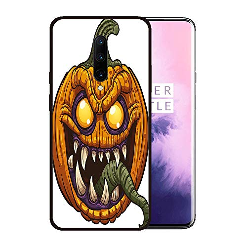 Case for OnePlus 7 pro,Silicone Cover and Tempered Glass 2 Materials,Non-Slip, Anti-Drop, Anti-Scratch,Depict- Halloween Scary Pumpkin Monster Evil Character with Fangs Aggressive Cartoon]()