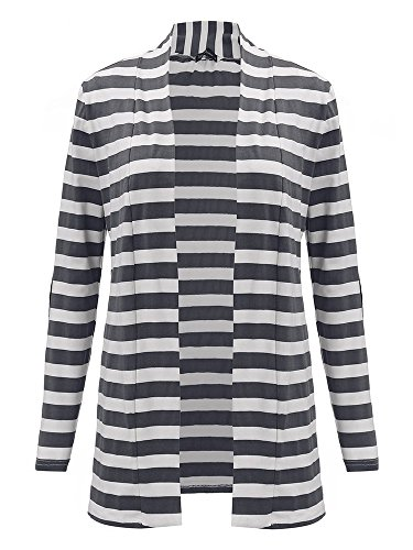 Casual Women Patchwork Stripe V Neck Long Sleeve Slim Thin Cardigan