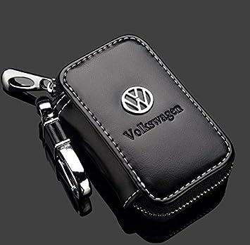 Amazon.com: VW Volkswagen Black Premium Leather Car Key Chain Coin ...