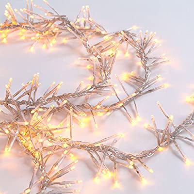 11 Foot, 440 Warm White LED Garland Cluster Clear Plug-in String Light, Connects up to 3 Strands, High Tech Memory System, Great for Both Indoor and Outdoor Application!