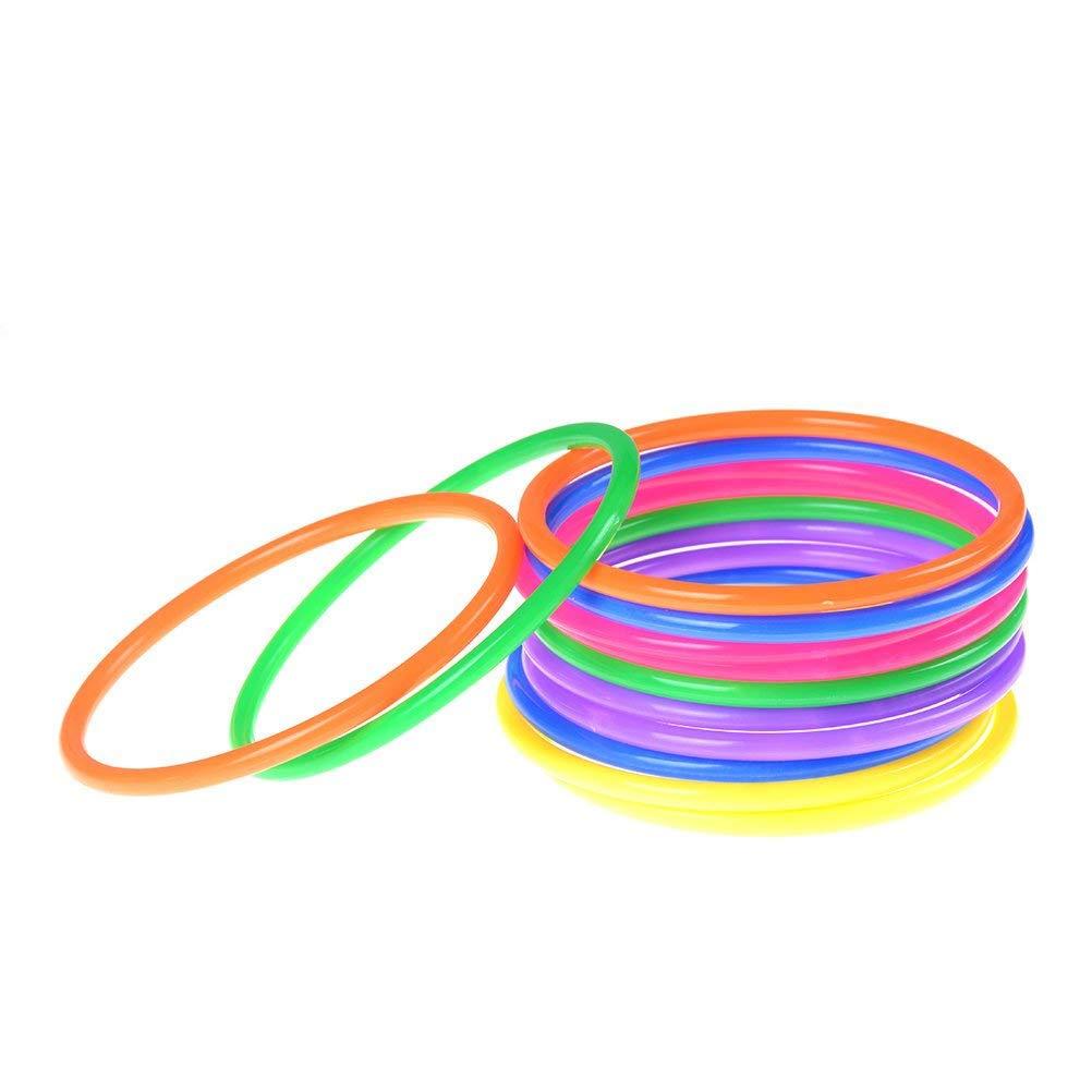 TUANTUAN 12 Pcs Plastic Multicolor Toss Rings for Kids Ring Toss Game Carnival Garden Backyard Outdoor Games B075D32LKL