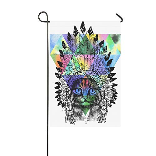 WUTMVING Home Decorative Outdoor Double Sided Maine Coon Cat Portrait Native American Garden Flag,House Yard Flag,Garden Yard Decorations,Seasonal Welcome Outdoor Flag 12 X 18 Inch Spring Summer - 1916 Portrait