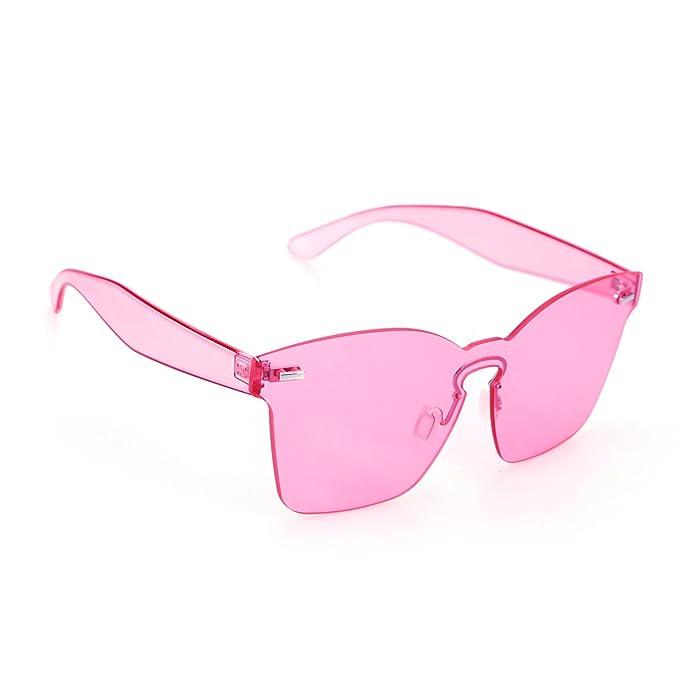 OULII Gafas de sol sin montura con lente Rosa para el regalo ...