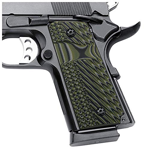 """EXEL 1911 Slim Grips, Compact/Officer,Big Scoop,3/16"""" Thin,OPS Texture,OD Green/Black G10,Cool Hand HH2S-J1S-21"""