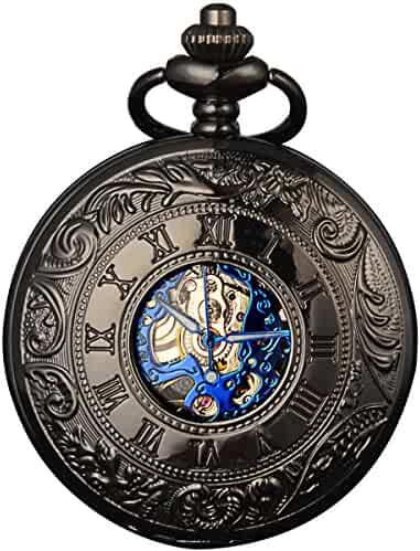 Smart.Deal Men's Antique Skeleton Roman Number Half Hunter Case Double Cover Mechanical Pocket Watch Gifts