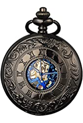 Smart.Deal Mens Antique Skeleton Roman Number Half Hunter Case Double Cover Mechanical Hand Wind Pocket Watch Gifts
