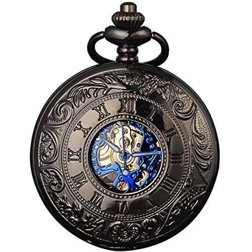 Smart.Deal Men's Antique Skeleton Roman Number Half Hunter Case Double Cover Mechanical Pocket Watch Gifts (Pocket Watch Blue Dial compare prices)