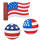 Quantity 3 pcs pack - Tenna Tops Set of (3 Styles) U.S.A. American Patriotic Flags - Car Antenna Toppers