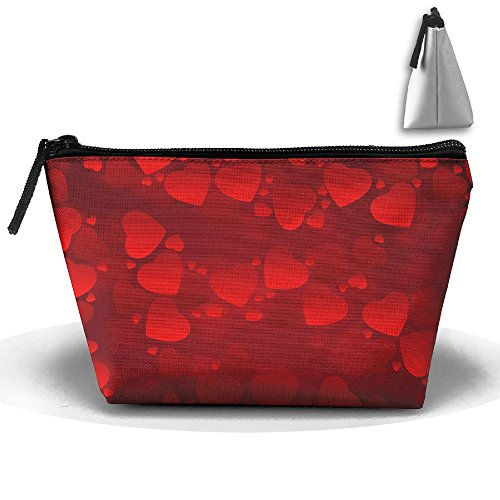 Red Heart Toiletry Pouch Makeup Bag Trapezoidal Storage Travel Bag Phone Coin Purse Cosmetic Pouch Wallet Pencil Holder Zipper