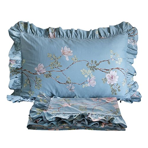 FADFAY Shabby Floral Print Bed Sheet Set Cotton Sheets 4-Piece King Size