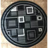 Carpet King Modern Round Contemporary Geometric Area Rug Grey & Black Design H078A (4 Feet x 4 Feet Round)