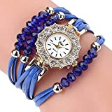 Womens Bracelet Watches, Windoson Lady's Girl's Fashion Rhinestone Beaded Charm Layer Quartz Bracelet Watches Lady Watches Female Watches Watches for Women (Blue)