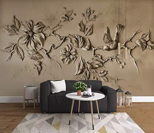Murwall 3D Embossed Floral Wallpaper Cement Blossom Wall Mural Sculpture Bird Wall Art Minimalist Home Decor Living Room Bedroom