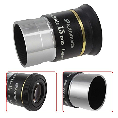 Astromania 1.25'' 15mm 66-degree Ultra Wide Angle Eyepiece for Telescope by Astromania