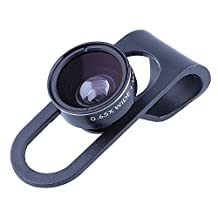 Geekercity 2 in 1 Universal Adjustment Cellphone Clip on Camera Lens Kit -0.65X Wide Angle Lens & 10X Macro Lens for iPhone 6 Plus 6 5S 5C 5 4S 4, Samsung Galaxy S6 S6 Edge S5 S4 Note 4 3 2 Edge, Google Nexus 6 5, Sony Xperia Z3 Z2,LG G4 G3 G2, HTC One M9 M8 M7 Desire 510, Motorola Moto X G and Other Smartphones, iPad Air 2/1, iPad 4/3/2, iPad Mini 3/2/1 and other Tablet PC (Black)