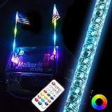 Maiker 3FT Dancing LED Whip Lights w/Flag 360° Twisted for Offroad Jeep Polaris RZR UTV ATV Sand Dune Buggy Quad Truck Boat(1 pair)