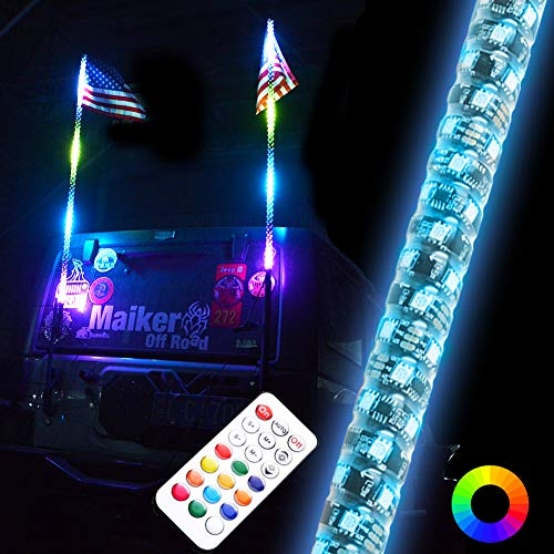 Maiker 5FT Dancing LED Whip Lights w/Flag 360 Twisted Remote Control Safety Antenna for Offroad Jeep Polaris RZR UTV ATV Sand Dune Buggy Quad Truck Boat(1 pair)