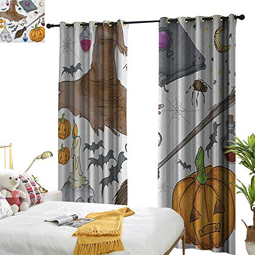 Decor Curtains Halloween Magic Spells Witch Craft Objects Doodle Style Illustration Grunge Design Skull Privacy Protection W120 x L96 -