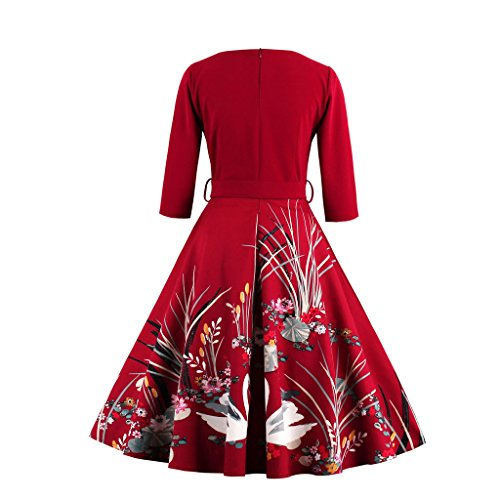 M 50er Vintage Damen Kleid Rockabilly DISSA Retro Cocktail 38 EU M1338 Rot q74nZwzz