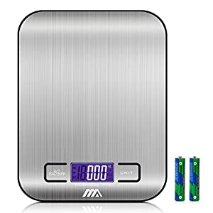 Toplus Digital Food Scale, Stainless Steel Easy to Clean Multifunction Kitchen Scale, Weighing from 1g/0.002lbs to 11lbs (Batteries Included)