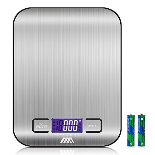 Bowl Electronic Kitchen Scale (Toplus Digital Food Scale, Stainless Steel Easy to Clean Multifunction Kitchen Scale, Weighing from 1g/0.002lbs to 11lbs (Batteries Included))