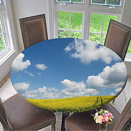 Mikihome Chateau Easy-Care Cloth Tablecloth Spring Landscape Yellow Flowering Fields and Blue Sky,Nature Background for Home, Party, Wedding 63