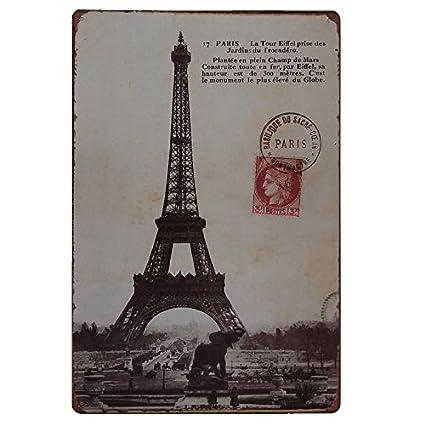 Placas Decorativas Vintage metalicas Paris. Carteles Torre Eiffel Pared Chapa
