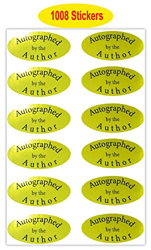 Autographed by The Author Stickers 1008 PCS - Gold Foil Autographed Label Stickers - 1 X 2 Inch Laminated Author Stickers (Autographed by The Author Stickers)