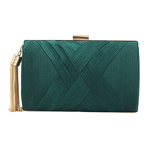 Cckuu Vintage Women's Pleated Satin Metal Frame Evening Wedding Party Clutch Handbag(Green) Green
