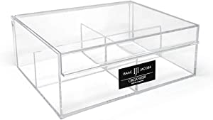 """Isaac Jacobs 4-Compartment Clear Acrylic Organizer with Lid (6.7"""" L x 8.6"""" W x 3.4"""" H), Multi-Sectional Tray & Storage Solution for Makeup, School & Office Supplies & More, for Bathroom, Kitchen"""