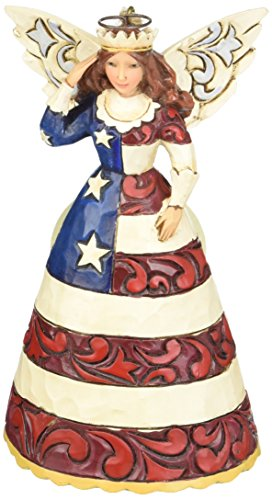 Jim Shore for Enesco Heartwood Creek Patriotic Angel Ornament, 4.75-Inch