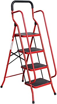DD 4 peldaños Escalera, Con Barandilla de Seguridad, Escaleras Antideslizantes Plegables, Peso Ligero Seguro (color : Rojo): Amazon.es: Bricolaje y herramientas