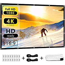 Indoor Outdoor Projector Screen 120 inch, 16:9 HD Projection Foldable Anti-Crease Portable Movie Screens Backyard Home Theater Support Double Sided Projection Nell Zimi