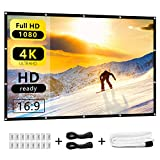 Nell Zimi 120 inch Projector Screen Outdoor Movie Portable 16:9 HD Foldable Anti-Crease Projection Screen Indoor Home Theater, Support Double Sided Projection